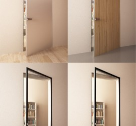 Vizualizácia interiéru dverí pre firmu Alusys. Hliníkové dvere s rôznymi výplňami.