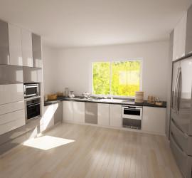 Návrh kuchynskej linky podľa predstáv zákazníka a výrobcu kuchynskej linky.