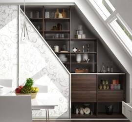 3d vizualizácia rohovej vstavanej skrine s tapetou - interiér